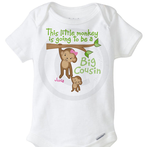 This little Monkey is going to be a big Cousin Onesie Bodysuit