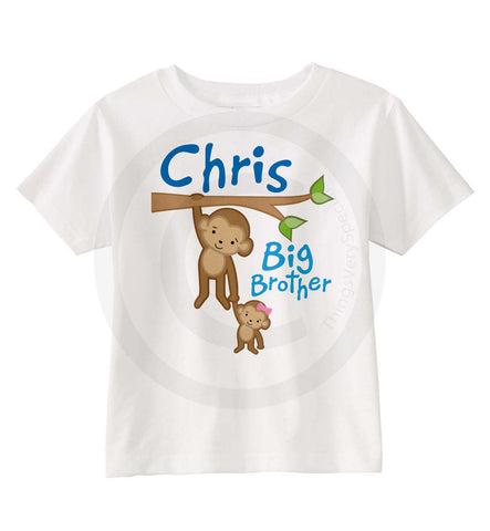 Big brother monkey shirt with little girl monkey