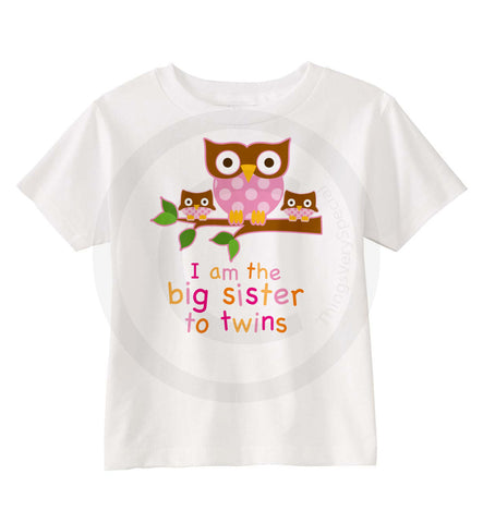 Big Sister To twin Girls owl Shirt