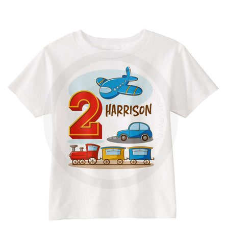 Transportation Birthday Shirt with Plane, Train and Automobile