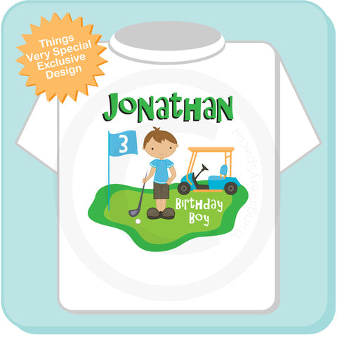 Golf Theme Birthday Shirt For Boys 3 Year Old 02022014b