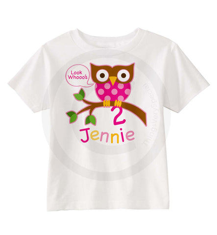 Two Year Old Birthday Shirt With Owl