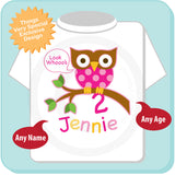Owl Second Birthday shirt for girls, Personalized with her name and age. 02022014c
