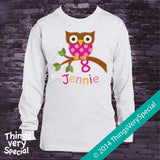 Owl Eighth Birthday shirt for girls, short or long sleeve 100% cotton t-shirt 02032014c