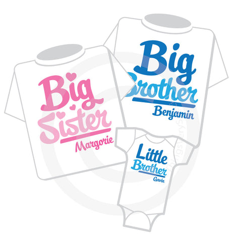 Matching sibling set of three Big Brother Big sister and Little Brother