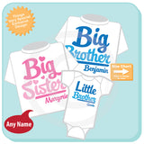 Matching Sibling Set of Three, Big Brother Big Sister Little Brother. Pregnancy Announcement - Each can be Tees or Onesies 02042016a