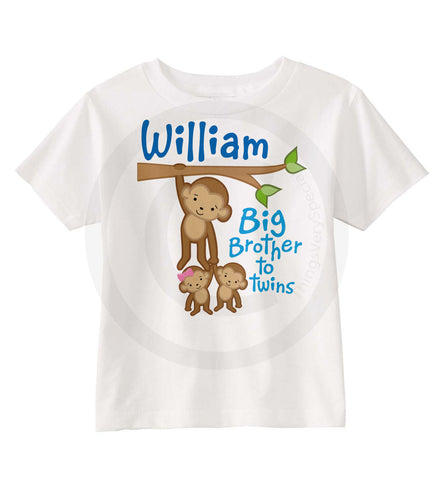 Big Brother to boy and girl twins Monkey shirt