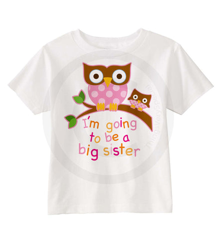 I'm going to be a big sister to a baby sister owl shirt