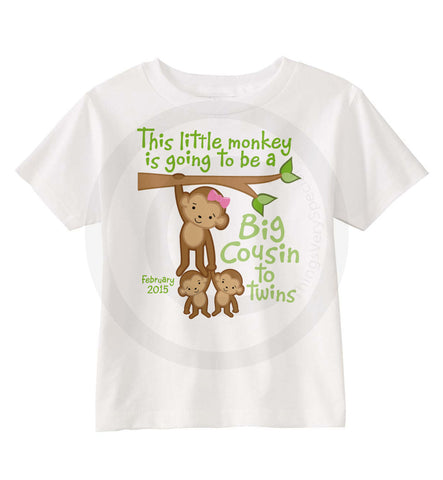 Big Cousin to Twins Monkey Shirt for Girls