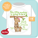 This Little Monkey is Going to Be A Big Cousin to twins Shirt with due date, Pregnancy Announcement 02092015b