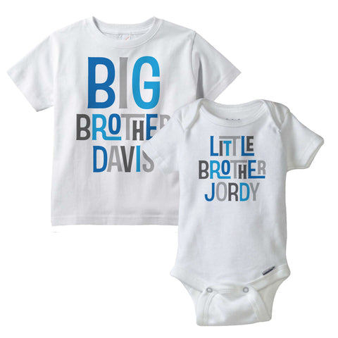 Matching Sibling set, Big Brother and Little Brother Shirt and Onesie Bodysuit with Blue an Grey lettering 02102014d