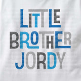 Little Brother Onesie Bodysuit with Blue an Grey lettering 02102014d