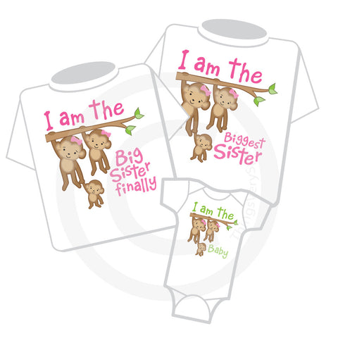 Matching Sibling Shirt Set of three for Big Sisters and baby
