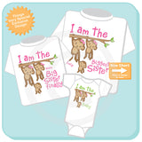 Sibling Monkey Shirt Set, Set of Three, Biggest Sister Shirt, Big Sister Finally, The Baby, Personalized Shirt or Onesie 02112016a