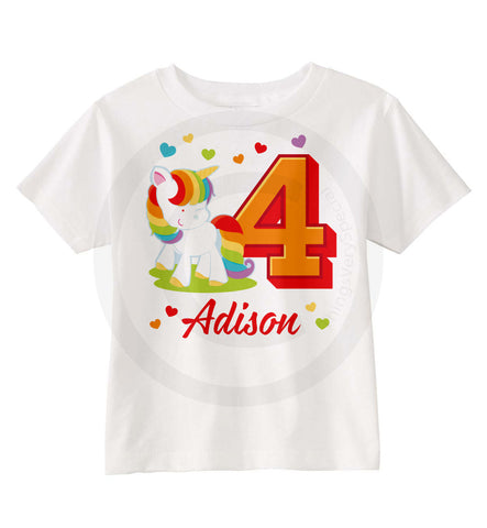 Rainbow Unicorn Birthday Shirt for Girls