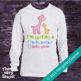"Gender Reveal Shirt Giraffes with the words ""I'm Getting A, Baby Brother or Baby Sister"" check the box. Announcement 02132015b"