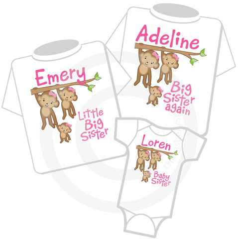 Matching set of three Sister Monkey shirts