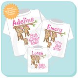 Sibling set of three, Big Sister Again, Little Big Sister and Baby Sister Outfits, Personalized Monkey shirt set 02142014e
