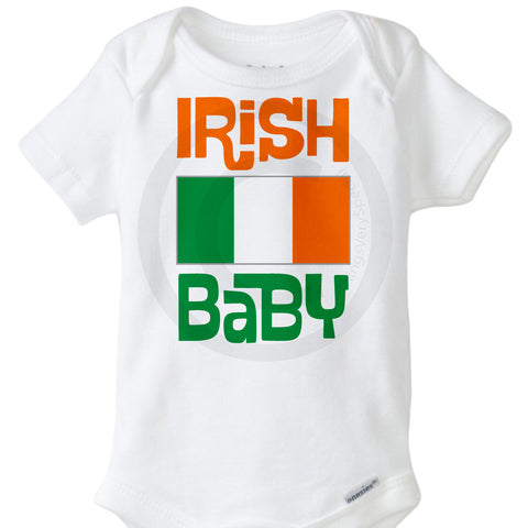 Irish Baby Onesie Bodysuit with Irish Flag 02162015b