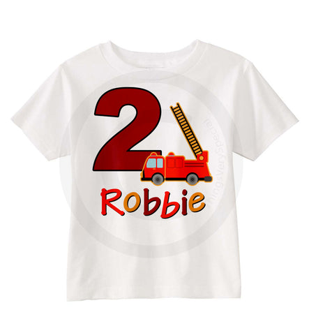 Fire Truck Birthday Shirt for 2 year old boy Fireman