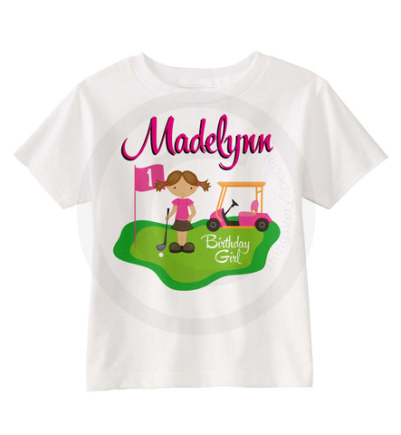 Girl's Birthday Shirt with Golf Theme | 02192015c | ThingsVerySpecial