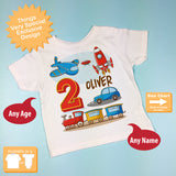 Transportation Birthday shirt - Birthday Boy shirt - Plane Train Automobile Rocket Space Ship Transportation birthday party theme 02202016a