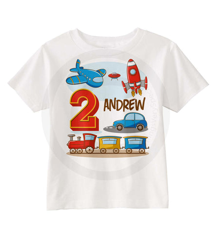 Transportation Birthday Shirt for Boys with Plane Train Car and Rocket