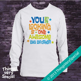 Awesome Big Brother Shirt Blue Green and Orange Text 02222013a