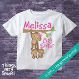 Monkey Big Sister To Twins Shirt or Onesie Bodysuit, personalized with big sister name 03012012c