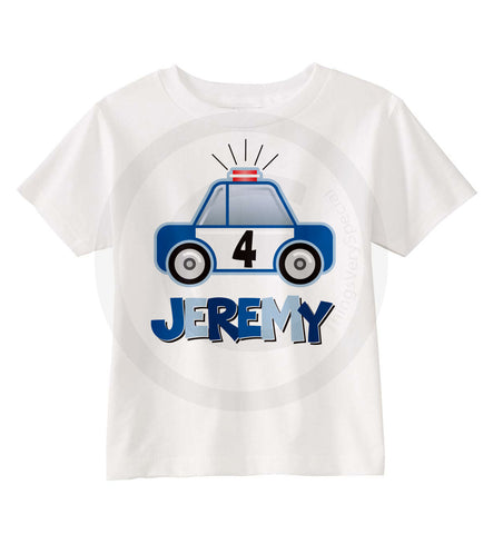 Police Car Birthday Shirt For Boys 4th With Things Very Special