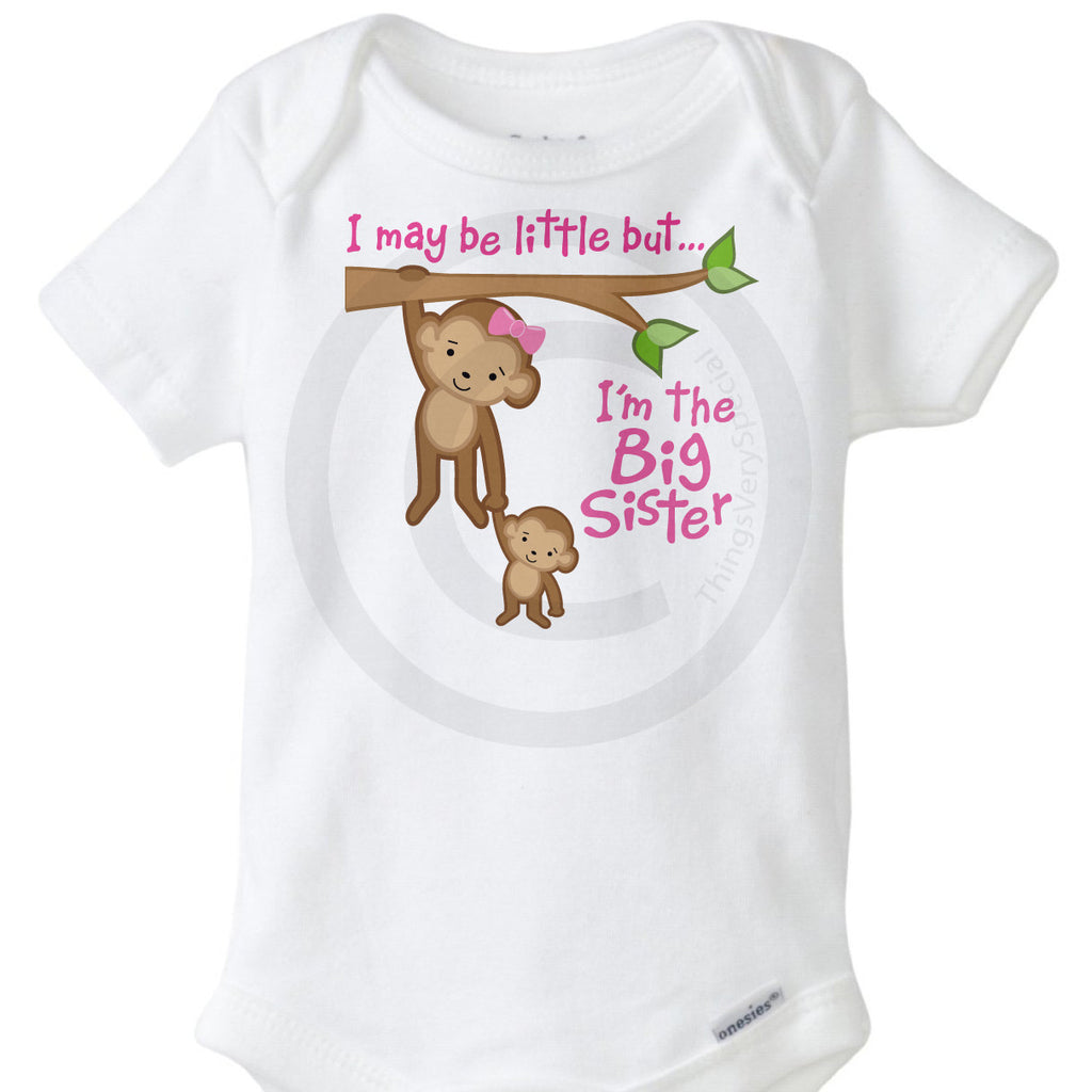 Cute Baby Onesie I May Be Little But I/'m Going To Be A Big Sister Onesie\u00ae Reveal Onesie Announcement Sibling Onesie Big Sister Onesie