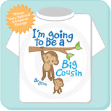 Big Cousin Shirt, I'm Going to Be A Big Cousin t-shirt, Personalized Big Cousin Monkey tShirt 03142012a