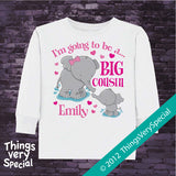 Big Cousin Shirt or Onesie - Elephant Big Cousin tee or One Piece - Big Cousin Gift - Big Cousin T-shirt or Bodysuit - 03182012a1b