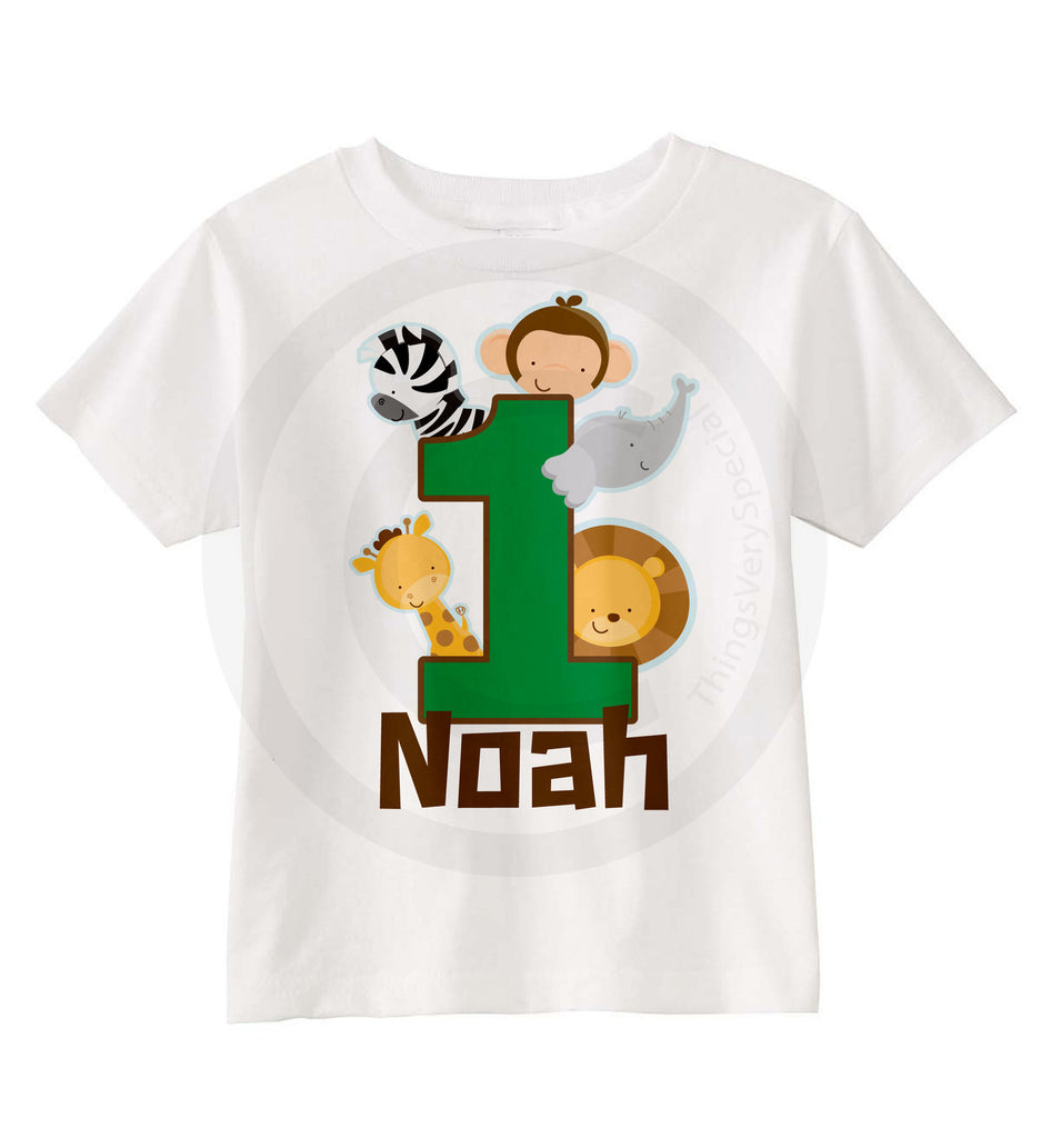 Boys One Year Old Jungle Birthday Shirt With Name 1st Personalized Theme 03182014a