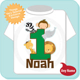 Boy's One Year Old Jungle Birthday Shirt with Name, 1st Birthday Shirt, Personalized Jungle Birthday Theme 03182014a