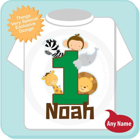 Boys One Year Old Jungle Birthday Shirt With Name 1st Personalized