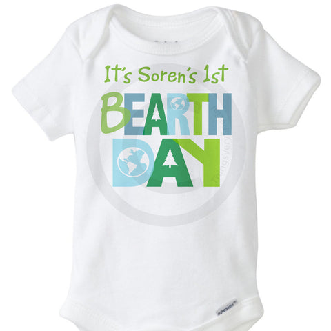 First Bearth Day Birthday Earth Day Onesie Bodysuit