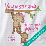 Monkey Big Sister Shirt in Spanish Hermana Mayor Short or long sleeve