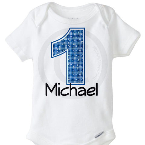 Boy's First Birthday Onesie Bodysuit with big blue number