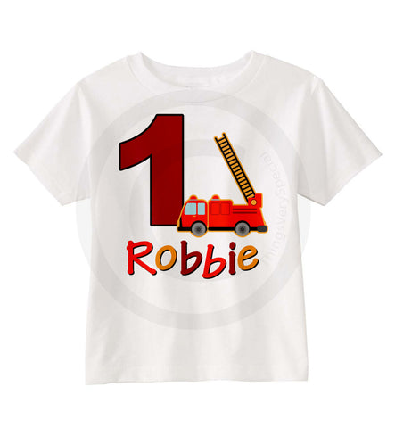 Fire Truck Birthday Party Shirt for Boys 03252015e ThingsVerySpecial