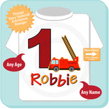 Fire Truck Birthday Party Shirt, Personalized Fireman Shirt, Birthday Fire truck Shirt with childs name and age 03252015e