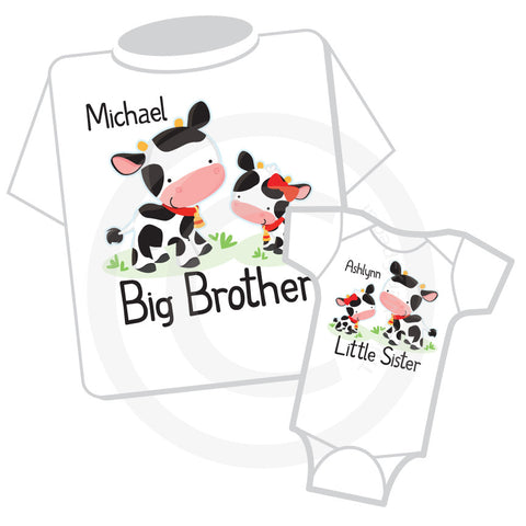 Matching Set of two Big Brother and Little Sister Cow Outfit tops
