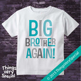 Big Brother Again! Shirt in Aqua and Grey Letters, Pregnancy Announcement 08072015b