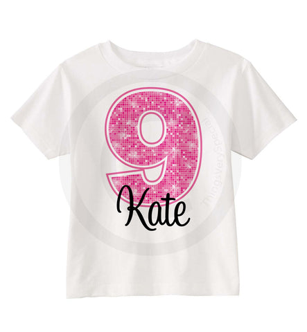 9th Birthday Shirt with Pink number and name
