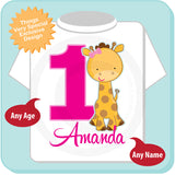 Girl's Giraffe Birthday shirt - Personalized 04102014k