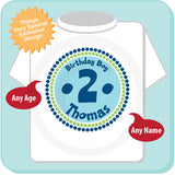Birthday Shirt Personalized - Birthday Boy Circle Design Tee Green Blue 04152014f