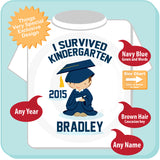 Kindergarten Graduation Shirt - Personalized Caucasian Boy - I Survived Kindergarten Shirt Kindergarten Graduate Shirt 04152014i
