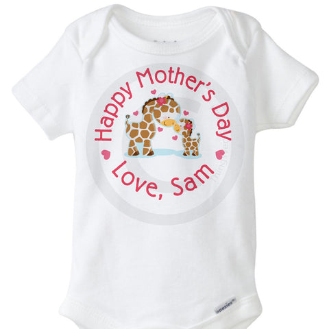 Giraffe Happy Mother's Day Onesie Bodysuit | 04172015f ThingsVerySpecial