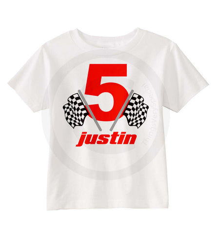 Racing Theme shirt for Boy's 5th Birthday
