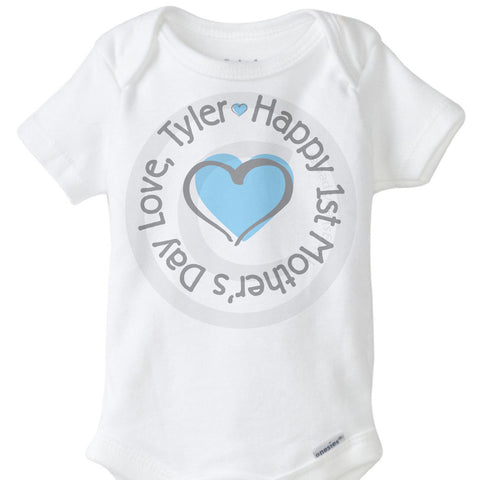 Happy First Mothers Day Onesie Bodysuit with Baby's Name